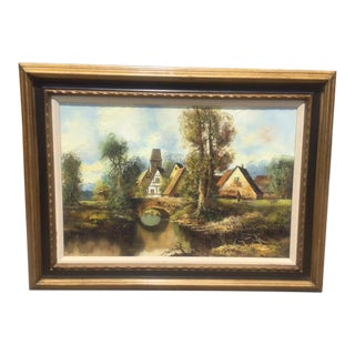 Vintage Country Scene... Signed Oil Painting For Sale