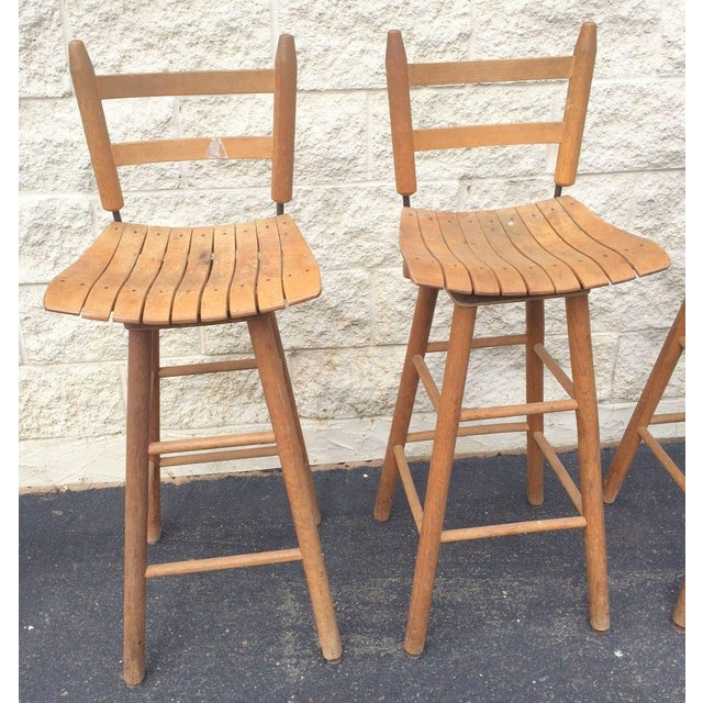 Arthur Umanoff Type Mid-Century Modern Bar Stools - Set of 4 For Sale - Image 5 of 6