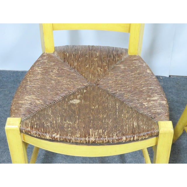 Early 20th Century French Country Carved & Painted Rush Seat Chairs - Set of 6 For Sale - Image 5 of 7