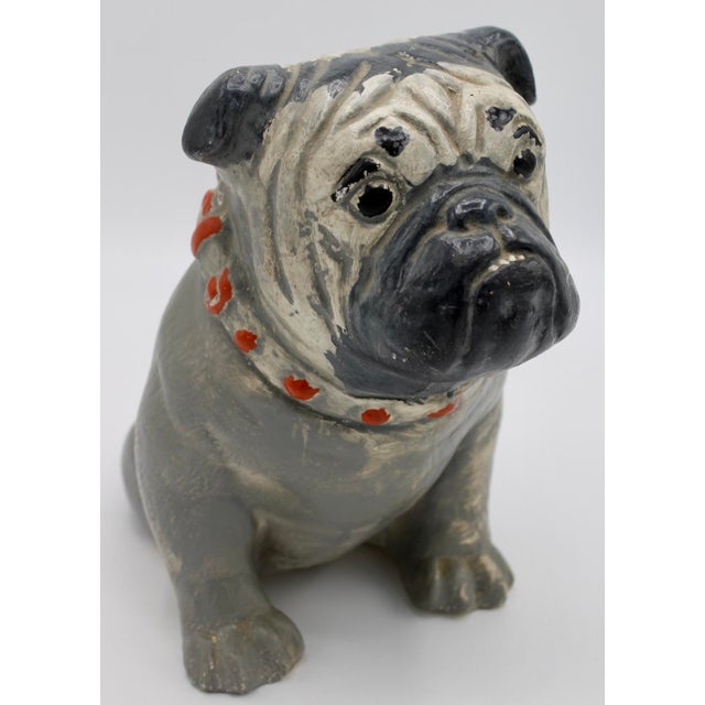 1930s Chalkware Carnival Prize Bulldog Statue For Sale - Image 10 of 12