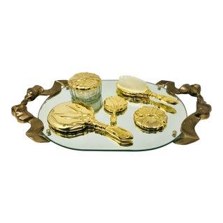 Vintage Godinger Gold/Brass Mirrored 6 Piece Vanity Set - 6 Pcs. For Sale