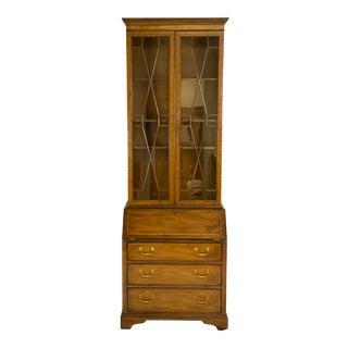 Late 20th Century Kittinger George III Inlaid Mahogany Secretary Desk For Sale
