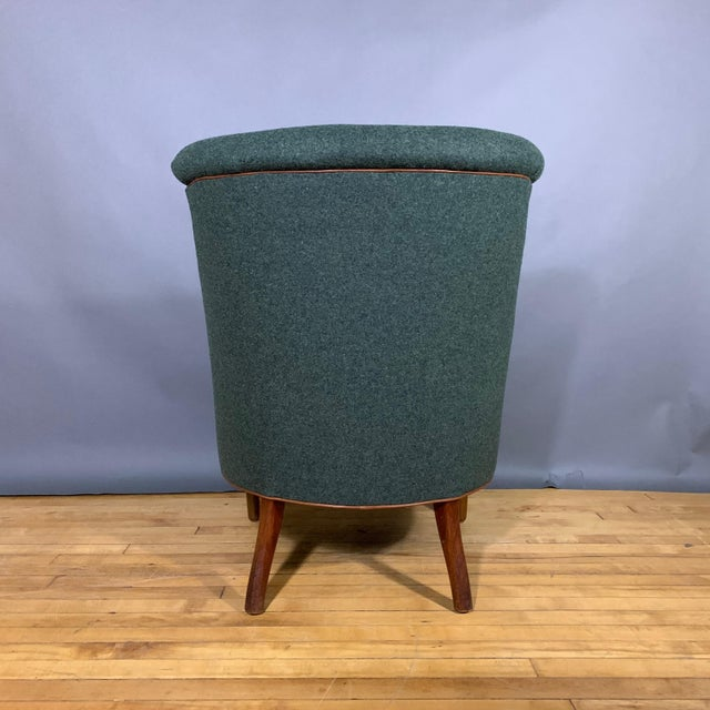 Danish 1950s Armchair, Kvadrat Felted Wool & Leather For Sale - Image 9 of 10