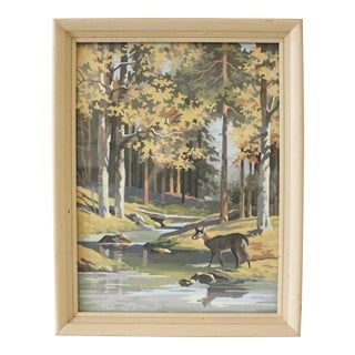 Vintage Paint by Numbers Painting Deer River Woods Mid Century