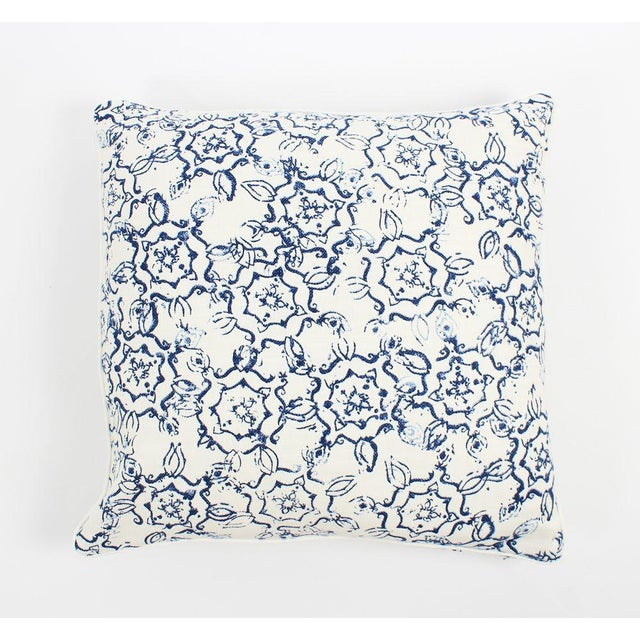 English Ink Swirl Linen Pattern Pillows, a Pair For Sale - Image 3 of 6