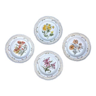 Set of 4- Chelsea House Reticulated Porcelain Botanical Decorative Plates For Sale