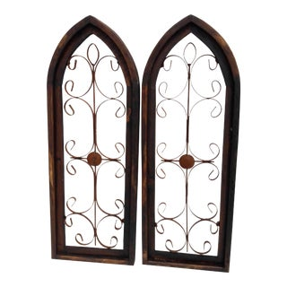 Pair Rustic Burnt Wood Shabby Garden Architectural Windows Shutters Cathedral Trellis For Sale