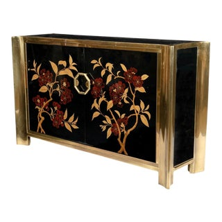 Mastercraft Black Lacquer and Brass Cherry Blossom Console Cabinet For Sale