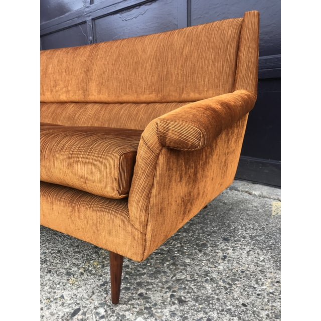 Textile Reupholstered! Early Milo Baughman Thayer Coggin Four Seat Sofa For Sale - Image 7 of 13