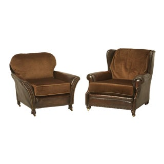 Pair of Original Leather and Mohair Club Chairs For Sale