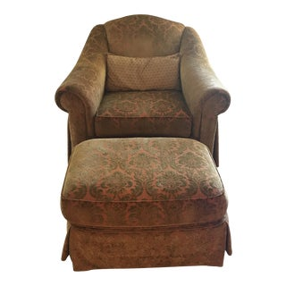 Thomasville Chenille Club Chair & Ottoman For Sale