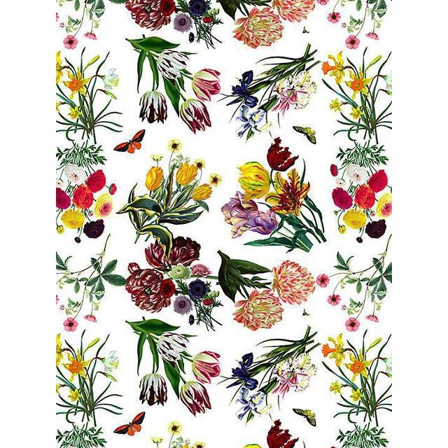 Sample, Scalamandre Nicolette Mayer for Scalamandre Flora & Fauna, White Wallpaper For Sale