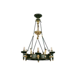 1940s Vintage Maison Jansen Regency Style Six-Arm Painted Iron and Bronze Chandelier For Sale