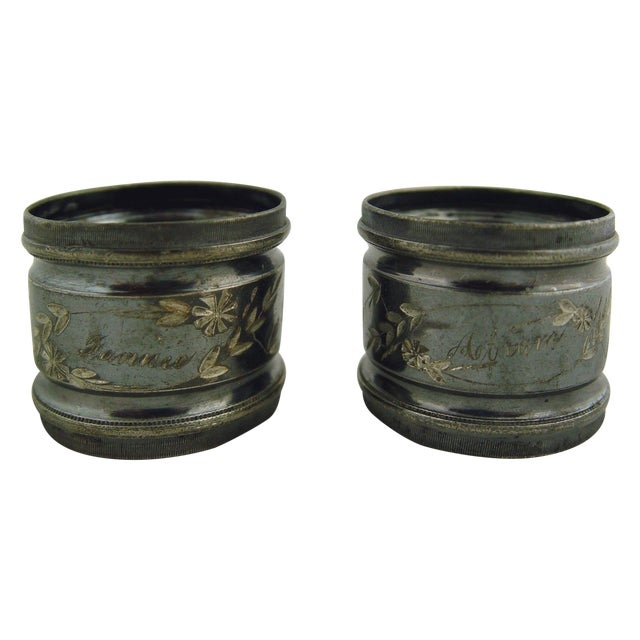 Fannie & Abram Silver Plate Napkin Rings - Pair For Sale