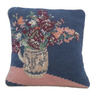 20th Century Cottage Blue and Pink Wool Needle Point Pillow For Sale