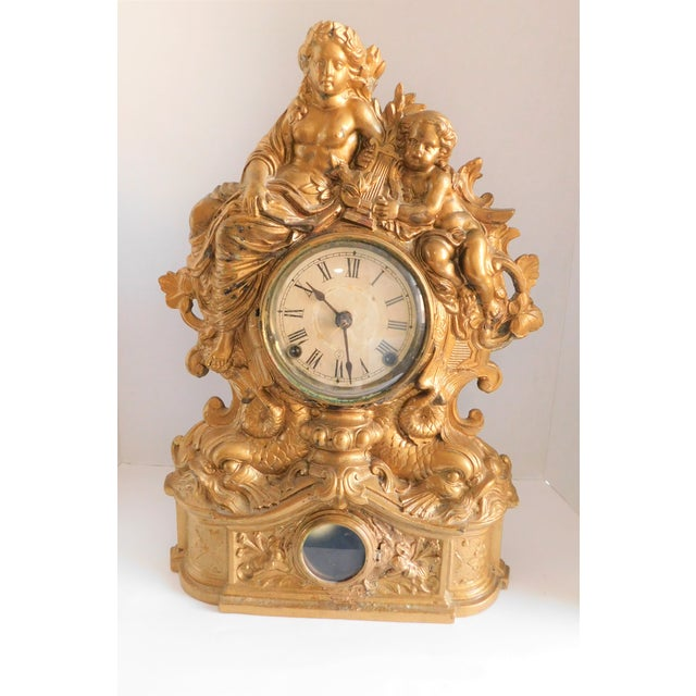Victorian Gilt Metal Table Clock C. 1870 For Sale - Image 13 of 13