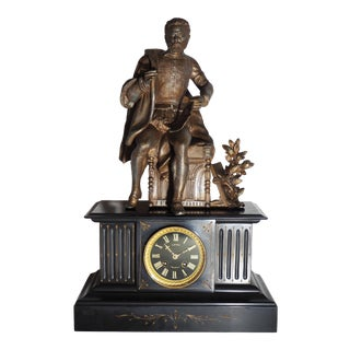 19th-Century Marble French Clock With Statue For Sale