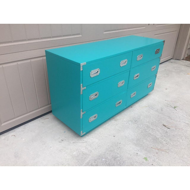Campaign Vintage Dixie Turquoise Painted Campaign Dresser For Sale - Image 3 of 10
