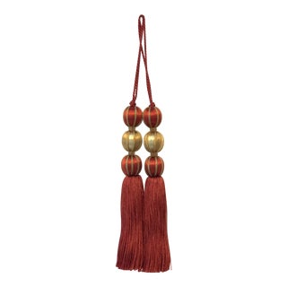"Traditional Beaded Key Tassels in Red & Gold - 7.5"" For Sale"