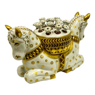 Scale Mangani Italian Porcelain Horse Flower Frog or Cachepot For Sale
