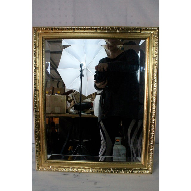 1980s Contemporary Beveled Gold Nugget Framed Mirror For Sale - Image 5 of 5
