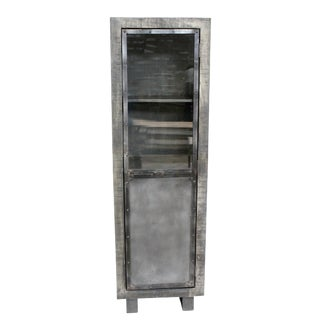 Rustic Burel Wine Cabinet, Home Bar Furniture, Storage Unit, Antique Silver Finish For Sale