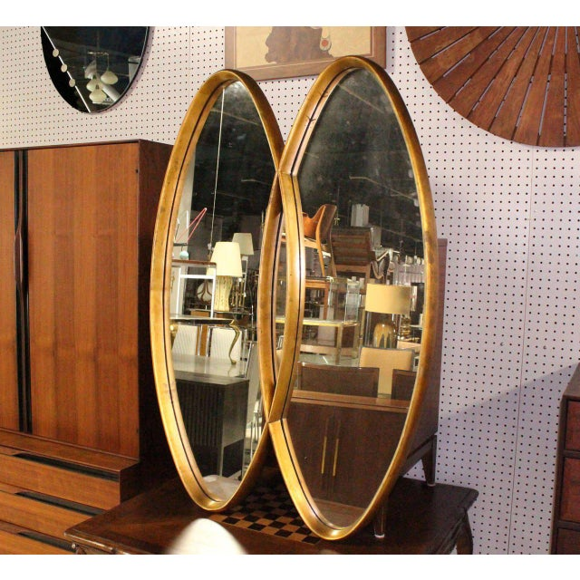 Dual Interlocking Oval Gold Frame Mirror For Sale - Image 10 of 10