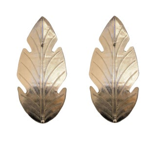 Extra Large Pair Mid Century Modern Silver Leaf Murano Glass Sconces Attr to Barovier