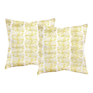 """Pepper Emma in Chartreuse 20"""" Pillows - a Pair For Sale"""