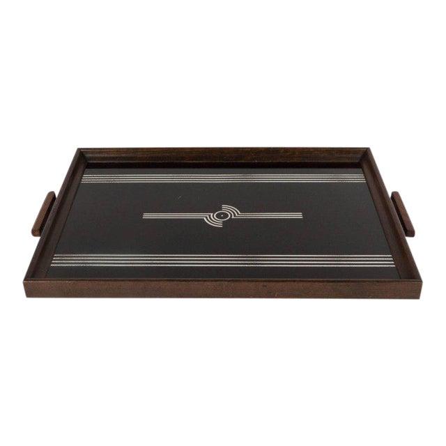 Art Deco Machine Age Streamlined Sterling Silver Glass Tray, Walnut Perimeter For Sale