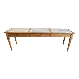 Traditional Sofa Console with Marble Top For Sale
