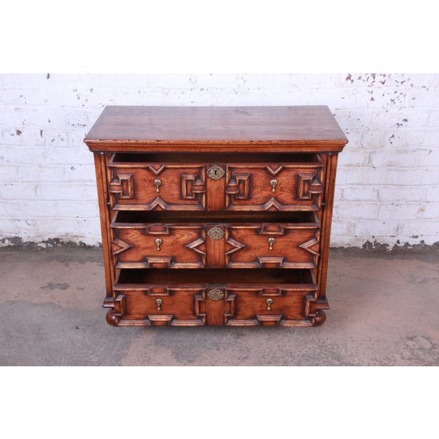 Antique Carved Oak Three-Drawer Bachelor Chest For Sale - Image 4 of 12