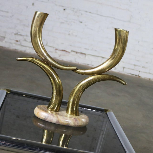 African Brass Horn or Tusk Shaped Double Candle Holder on Oval Stone Base For Sale - Image 3 of 12
