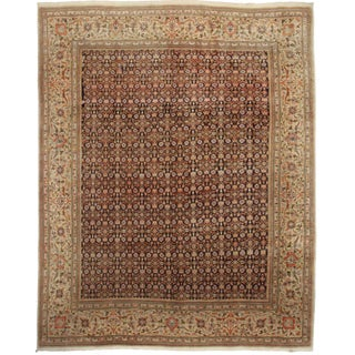 """Vintage Knotted Persian Tabriz Rug - 10' X 12'10"""" For Sale"""
