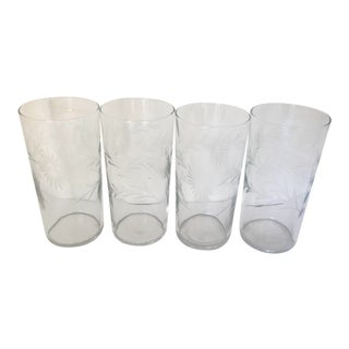 Mid 20th Century Floral Etched Highball or Ice Tea Glasses - Set of 4 For Sale