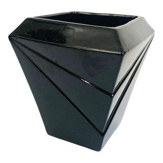 Large 80s Modern Vintage Black Planter by Haeger For Sale
