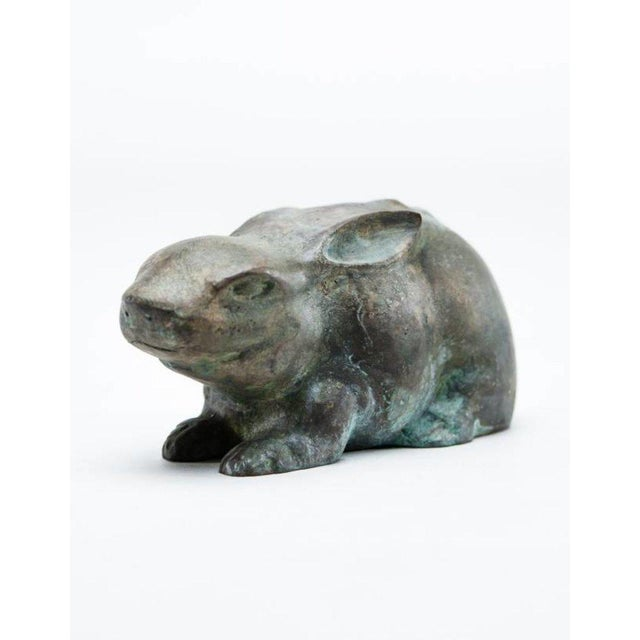 Patinated verdigris bronze rabbit statue inspired by ancient Chinese sculptures designed by Lucia Lawrence. Weighing 2.5...