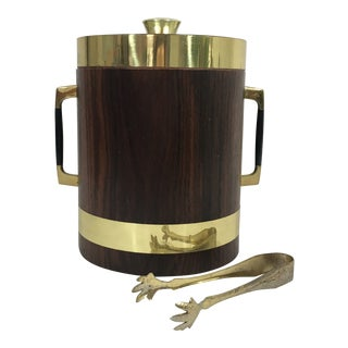 Mid Century Modern Brass and Walnut Ice Bucket