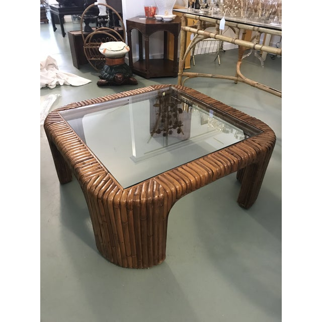 Brown Split Reed Rattan Waterfall Coffee Table For Sale - Image 8 of 8