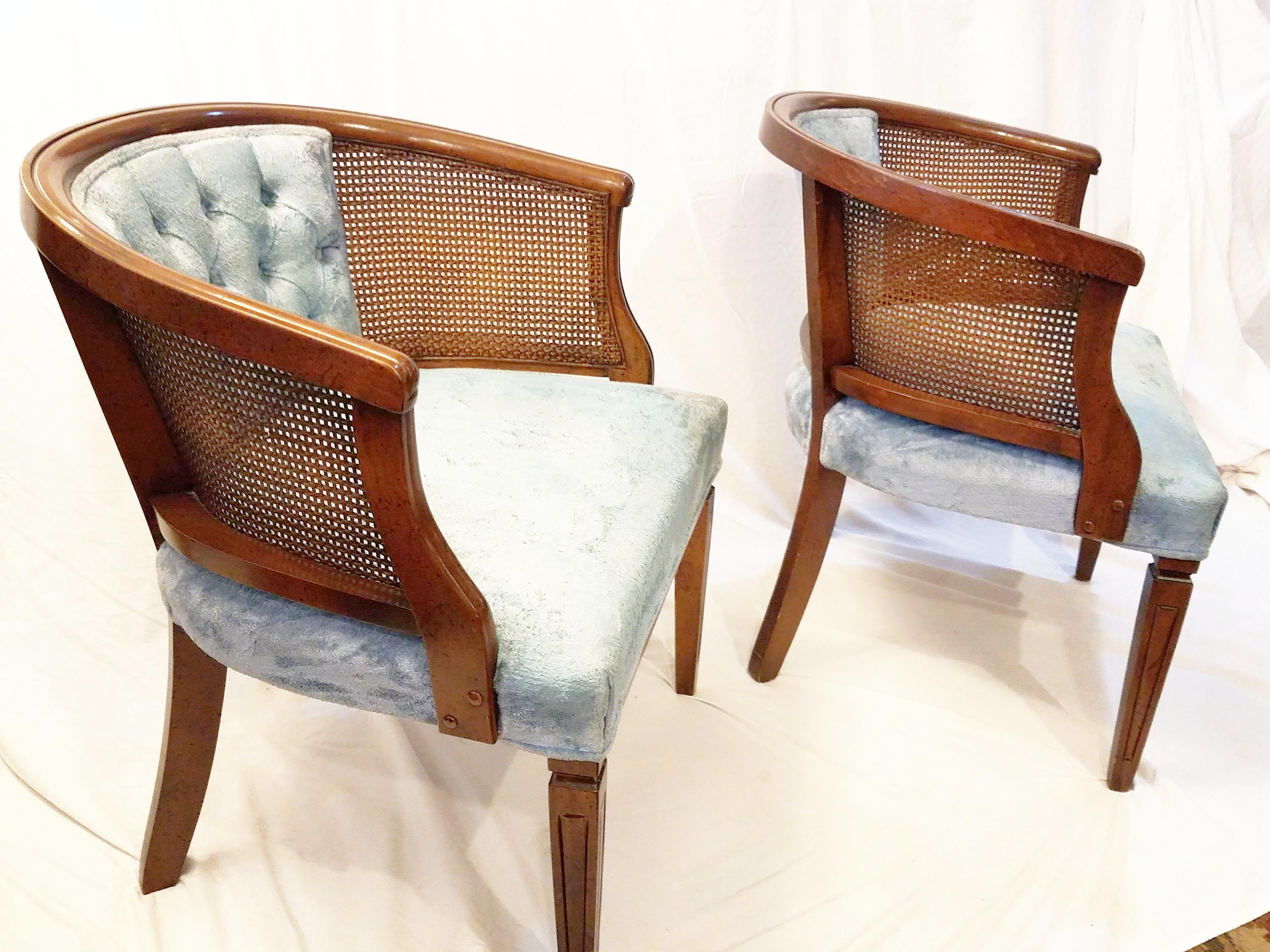 Vintage Wood U0026 Cane Barrel Chairs   A Pair   Image 3 ...