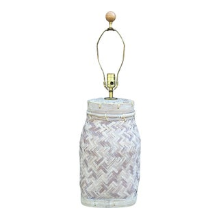 Vintage Asian Jar Style Rattan Wicker Table Lamp For Sale