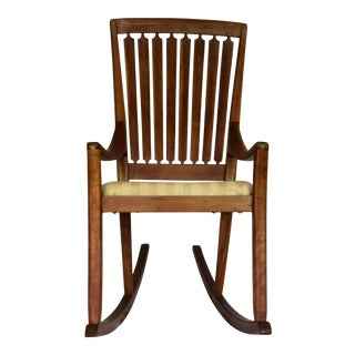 Mid-Century Modern Traditional Cherry and Walnut Rocking Chair For Sale