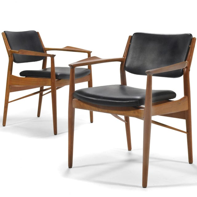 These model 51A Arne Vodder armchairs typify Danish modern as popularized by Finn Juhl. Beautifully crafted by P. Olsen...