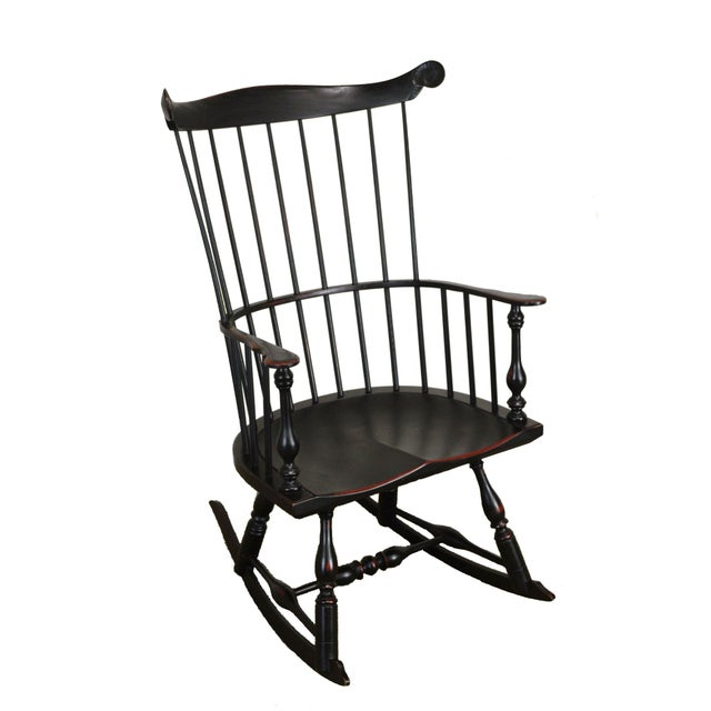 Custom Crafted Distressed Black Painted Windsor Rocker Rocking Chair For Sale - Image 13 of 13