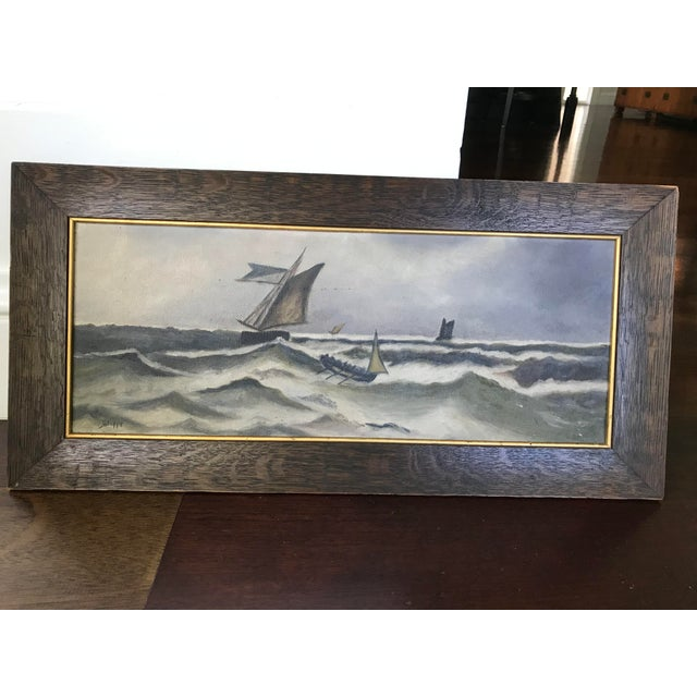 This is a vintage framed painting depicting a storm at sea. This piece was made in the '30s. Amazing Vintage Find Antique...