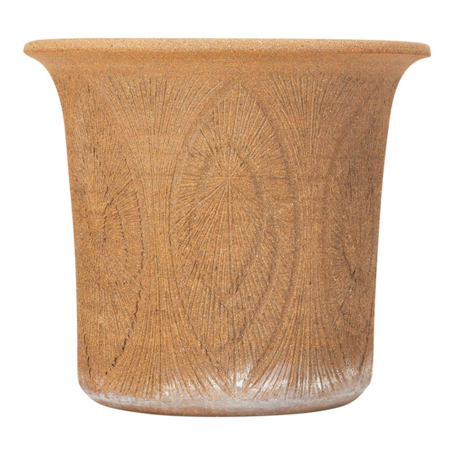 Robert Maxwell Incised Studio Pottery Planter with Flared Lip For Sale