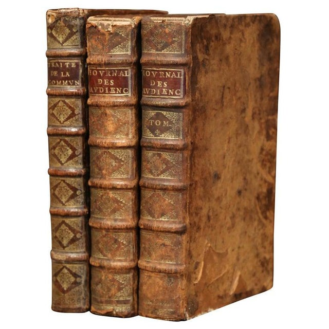 17th Century French Leather Bound Decorative Books Dated 1692-1700 - Set of 3 For Sale - Image 11 of 11