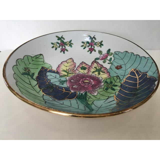 Large, classic, timeless, brass encased porcelain bowl/catchall/dish in the Tobacco Leaf pattern. This beautiful hand...