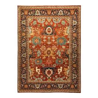 One-Of-A-Kind Oriental Serapi Hand-Knotted Area Rug, Crimson, 8' 0 X 10' 9 For Sale