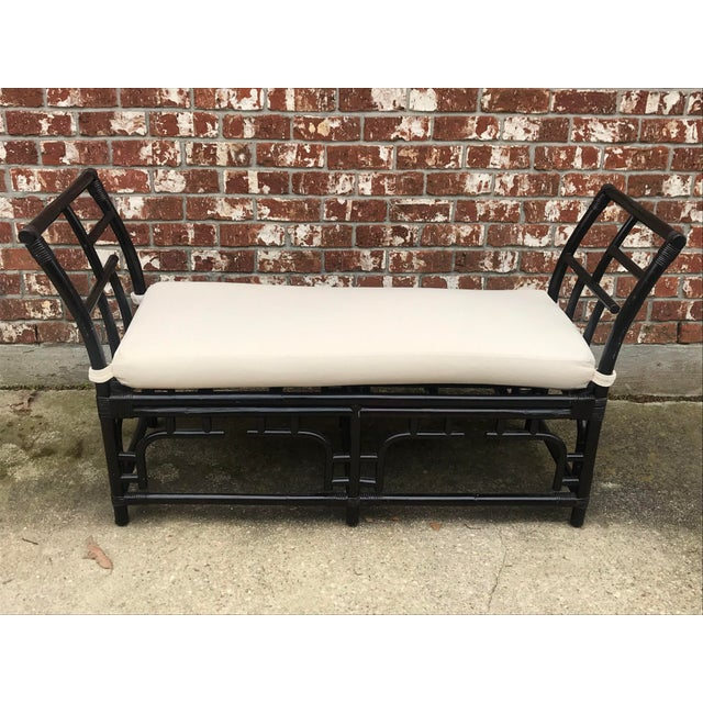 1970s Vintage Faux Bamboo Upholstered Bench For Sale - Image 12 of 13